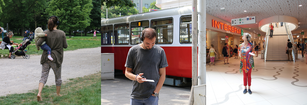 People using listening to sounds in the city